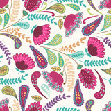 Vector seamless hand-drawn pattern with decorative flowers and l Royalty Free Stock Photos