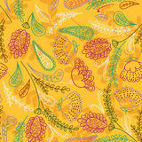 Vector seamless hand-drawn pattern with decorative flowers and l Stock Photography