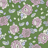 Vector seamless hand-drawn pattern with decorative rose flowers Royalty Free Stock Images