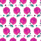 Vector seamless hand-drawn pattern with decorative rose flowers Royalty Free Stock Photo