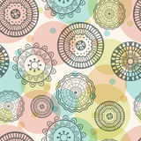 Vector seamless hand-drawn pattern with flowers. Colorful floral Stock Photo