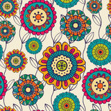 Vector seamless hand-drawn pattern with flowers and leaves Royalty Free Stock Photos