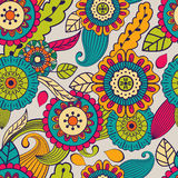 Vector seamless hand-drawn pattern with flowers and leaves.  Stock Images