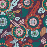Vector seamless hand-drawn pattern with flowers and leaves.  Royalty Free Stock Photography