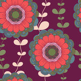 Vector seamless hand-drawn pattern with flowers and leaves.  Royalty Free Stock Image