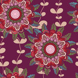 Vector seamless hand-drawn pattern with flowers and leaves.  Royalty Free Stock Photo