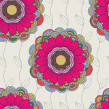 Vector seamless hand-drawn pattern with flowers and leaves.  Stock Photography