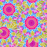 Vector seamless hand-drawn pattern with flowers and leaves Stock Photography