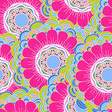 Vector seamless hand-drawn pattern with flowers and leaves Stock Images
