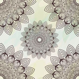 Vector seamless hand-drawn pattern with flowers and leaves Royalty Free Stock Photo