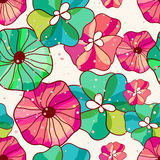 Vector seamless hand-drawn pattern with flowers and leaves. Colo Royalty Free Stock Photography
