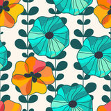 Vector seamless hand-drawn pattern with flowers and leaves. Colo Stock Photography