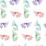 Vector seamless hand-drawn pattern with old gramophone Royalty Free Stock Photo