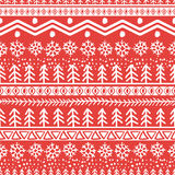 Vector seamless hand drawn pattern in red and white colors. Stock Photo