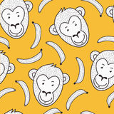 Vector seamless hand drawn pattern. Smiling monkey face and bana Royalty Free Stock Image