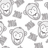 Vector seamless hand drawn pattern. Smiling monkey face and text Stock Photo