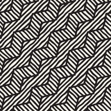 Vector seamless hand drawn pattern. Zigzag and stripe rough lines. Tribal design background. Ethnic doodle texture. Royalty Free Stock Photography
