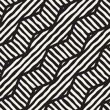 Vector seamless hand drawn pattern. Zigzag and stripe rough lines. Tribal design background. Ethnic doodle texture. Royalty Free Stock Images