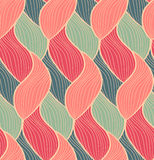 Vector seamless hand drawn wave pattern. Colorful endless thread background. Royalty Free Stock Photos
