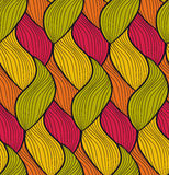 Vector seamless hand drawn wave pattern. Colorful endless thread background. Royalty Free Stock Image