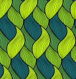 Vector seamless hand drawn wave pattern. Colorful endless thread background. Stock Image