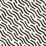 Vector Seamless Hand Painted Diagonal Wavy Lines Pattern Stock Photo