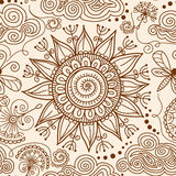 Vector seamless Henna mehndi doodle pattern Stock Photos
