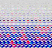Vector Seamless Hexagonal Cube Halftone White Outline Grid Pattern In Blue Pink and Red Stock Photo