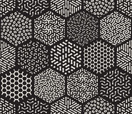 Vector Seamless Hexagonal Jumble Patterns. Vector Seamless Black and White  Hexagonal Patchwork Tiling Filled With Rounded Line Jumble Patterns Abstract Royalty Free Stock Photos