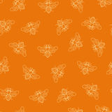 Vector seamless honey bee pattern Stock Image