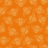 Vector seamless honey bee pattern Royalty Free Stock Photos