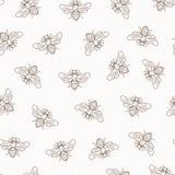 Vector seamless honey bee pattern Stock Photo