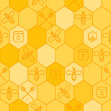 Vector seamless honey pattern. Outline bees, honeycombs, honey dipper symbol.  Royalty Free Stock Photography