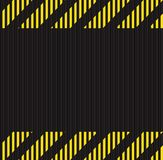 Vector seamless horizontal background of corrugated metal surface black with yellow horizontal lines, the warning about the danger. S of Stock Photography