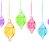 Vector seamless horizontal background with outline lanterns.