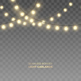Vector seamless horizontal border of realistic light garlands. Royalty Free Stock Photo