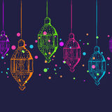 Vector seamless horizontal night background with outline lanterns. Royalty Free Stock Images