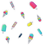 Vector seamless ice cream pattern. colorful cartoon background with fruit and chocolate popsicles. Paper wrapping design Royalty Free Stock Image