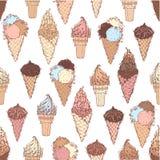 Vector seamless ice-cream pattern. Royalty Free Stock Photos