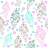 Vector seamless ice cream pattern with hand drawn outline ice cream illustrations Royalty Free Stock Photography