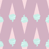 Vector seamless icecream pattern in delicate, tender colors, pink, turquoise, violet, green Royalty Free Stock Photography