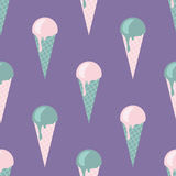 Vector seamless icecream pattern in delicate, tender colors, pink, turquoise, violet, green. Stock Photography