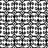 Vector seamless ikat pattern with black and white. For textile, fabric, craft, wrapping Stock Images