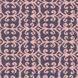 Vector seamless ikat pattern with pink and lilac. For textile, fabric, craft, wrapping Stock Photo