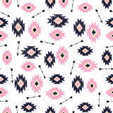 Vector seamless ikat tribal pattern. Royalty Free Stock Photography