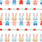Vector seamless illustration with cute hares. Stock Photo