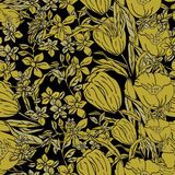 Vector seamless Illustration of gold dipped poppies, tulips, scattered flowers and leaves. stock illustration
