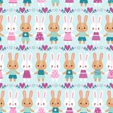 Vector seamless illustration with rabbits Stock Image