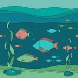 Vector seamless illustration of underwater world Royalty Free Stock Images