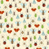 Vector seamless insects pattern. Royalty Free Stock Photo